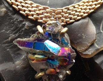 Titanium Quartz Cluster Necklace - Brass