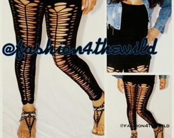Leggings - Black Leggings - Brand New Style Front Cut Leggings  Black Legging and Tights all sizes Plus Size  Rocker Cut Leggings