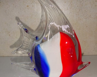 Vintage Glass Fish Murano Style Red White Blue Paper Weight Paperweight Blown Glass Fish
