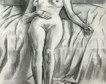 Original Life drawing of female nude Girl Sitting on bed charcoal on paper