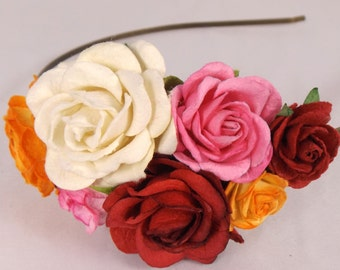 White, Pink, Orange and Red Floral Headband Flower Fascinator Vintage Wedding Party Bridal Accessory Bridesmaid statement