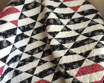 "Stripes of Black and White with Accents of Hot Pink and Peridot Green In This 39"" X 39"" Ultra Modern Quilt"