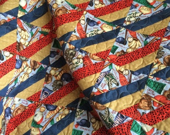 """Red, Navy, Tan and Baseball, Blend Perfectly In This 38"""" X 44"""" Children's Quilt"""