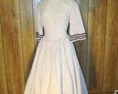 STRIPED Brown & White Full SKIRTED TEA Dress