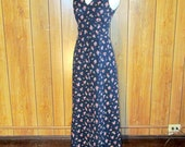 On Sale-Lovely EYELET Navy FLORAL Maxi Dress