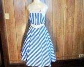 PLUS SIZE Nautical STRIPED Sun Dress