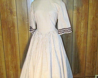 On Sale-STRIPED Brown & White Full SKIRTED TEA Dress