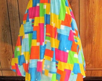 On Sale-RETRO Colorful BLOCK SKIRT