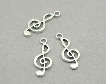 Music Note Treble Clef Musical Charms Antique Silver 8pcs zinc alloy beads 10X24mm CM0894S