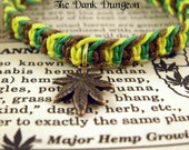 Cannabis Hemp Leaf Bracelet - 420 Hemp Jewelry, Macrame Hemp Pot Leaf Bracelet, Green Yellow Brown Hemp Jewelry, Marijuana Leaf Bracelet