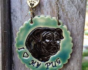 I Love My Pug - Green Ceramic Ornament