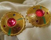 Retro Statement Clip Earrings With Pink Cabochon Set in Gold Tone