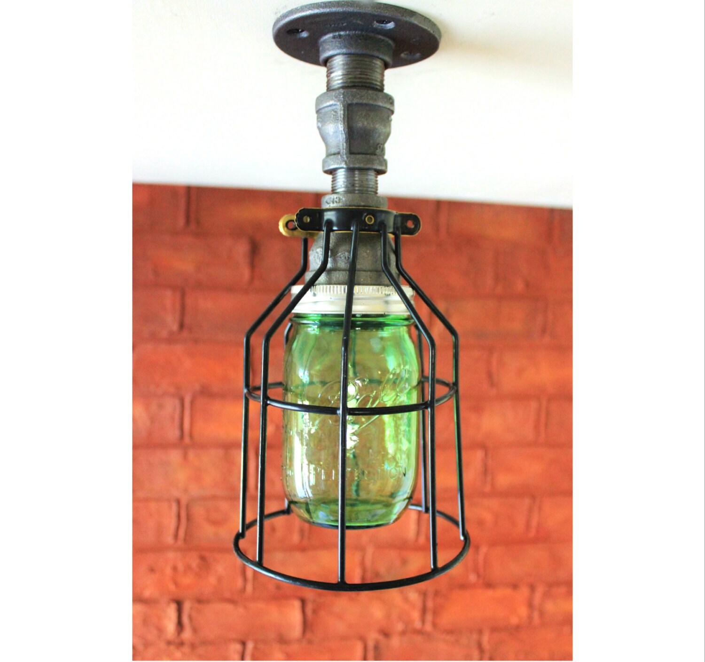 Ceiling Light Industrial Pipe Light Farmhouse Green Mason
