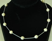 """Vintage Cultured BAROQUE PEARLs 18"""" NECKLACE, Ivory Cream Thirteen (13)-8mm Lustrous, Art Deco Single Strand, Princess Length, Free Shipping"""