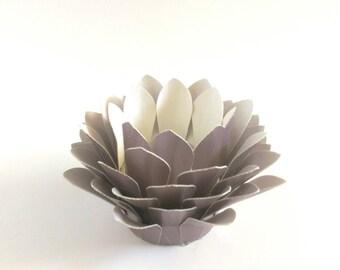Tealight holder - Handmade Paper Lotus - Paper Flower Decor - Flower Table Lamp  - Metallic Lavender  - Waterlily - 3d Paper Art - Kids Room