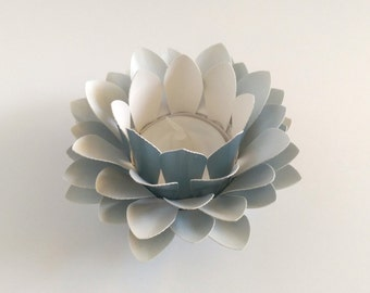 Handmade Paper Lotus - Flower Table Lamp  - Metallic Light Blue  - Waterlily - Paper Flower Decor - 3d Paper Art - Wedding Centerpiece