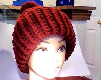 Snowy Day Claret Ribbed Cuff Red Burgundy Bordeaux Maroon Crimson Garnet  Warm Knit Winter Hat MXL with POM Pom Handmade Crochet Knit