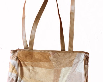 Vintage Suede Patchwork Leather Bag - Handbag - Purse - seventies -1970s