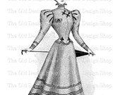 Victorian Lady modelling Two Piece Costume Instant Download PNG Clip Art Transfer Image