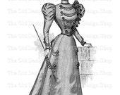 Victorian Lady modelling Promenade Toilette Instant Download PNG Clip Art Transfer Image