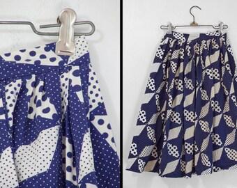 1950s PINWHEEL Skirt Handmade Polka Dot XXS 22 Inch Waist Navy Blue White