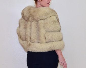 Fleur De Fur 1950s Vintage Morris Yudofsky Saga Norwegian Blue Fox Plush White Satin Lined Luxery Fur Shawl One Size Fits Most