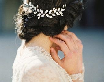 Diamantes de imitación Tiara de hojas, corona de cristal, tocado de novia-estilo 4815 'Elsa' hecha a la medida