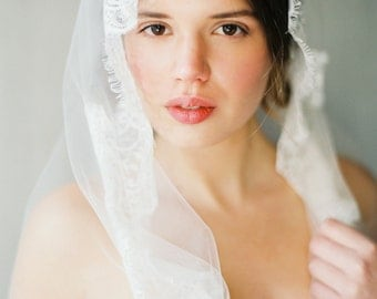 Cathedral length Chantilly Lace Mantilla Veil, Bridal Veil, Wedding Veil -Style 1615 'Forestyne' MADE TO ORDER