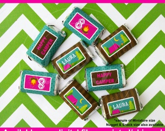 Girl Camping Chocolate Bar Wrappers - Glamping Candy Bar Wrappers - Glam Camping Party Favors - Camping Candy Labels - DIgital & Printed
