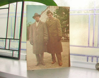 1940s Vintage Photograph Soldier and His Father Color Photo 10 x 7