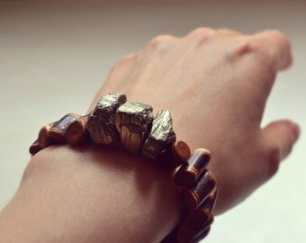 Chunky Raw Pyrite Bracelet, Natural Guava Wood Bracelet,Tribal Bracelet, Statement Bracelet, Wood Jewelry, Pyrite Jewelry, Brown Earth Tones