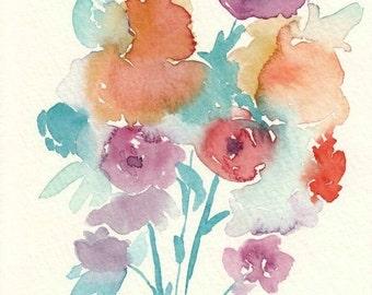 Abstract Watercolor Flowers, original watercolor painting, 5x7, purple watercolor, orange, teal, floral art, flower painting, fine art