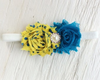 girl headband baby girl headband newborn headband yellow turquoise headband chiffon flower headband turquoise headband
