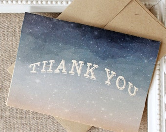 Thank You Notes set of 5 Starry Starry Night Evening Sky Twilight Navy Blue
