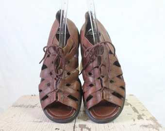Vintage Chocolate Grecian Gladiator Leather Lace Up Sandals Sz 10M