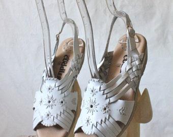 Vintage White Leather Huarache Sandals Sz 7W