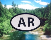 """Arkansas AR Patch - Iron or Sew On - 2"""" x 3.5"""" - Embroidered Oval Appliqué - The Natural State - Black White Hat Bag Accessory Handmade USA"""