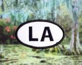 """Louisiana LA Patch - Iron or Sew On - 2"""" x 3.5"""" - Embroidered Oval Appliqué - The Pelican State - Black White Hat Bag Accessory Handmade USA"""
