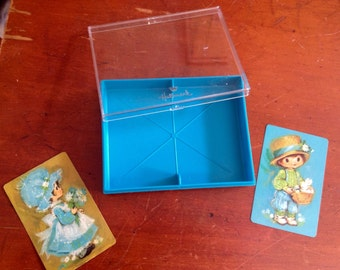 Vintage Set Of Two Decks Of Hallmark Playing Cards Retro Little People In Original Turquoise Container Box Paper Ephemera Scrapbooking