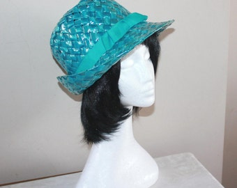 Womens turquoise fedora hat. Womens tribly hat