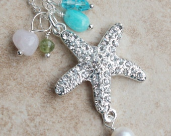 Crystal Starfish Necklace, Wedding, Evening out, Sterling Chain, Removable Gemstones, Freshwater Pearl,  Jewelry Gift, Inarajewels