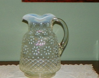 Antique Victorian art glass PITCHER Northwood SNOWFLAKE Ribbed opaline opalescent opal