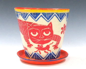 Fabulous FLOWER POT Saucer - Art Pottery Outside Inside Planter,Sly Cat Mouse Bird,Mexican Folk Art Style - Choose Your Colors - Artist Made