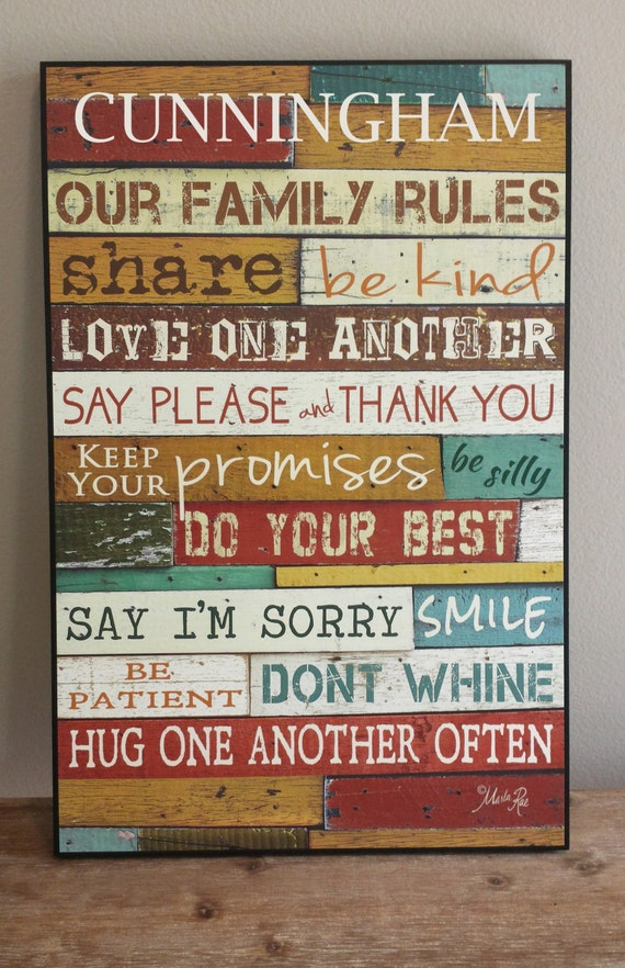 Personalized Family Rules Sign Personalized Family Rules