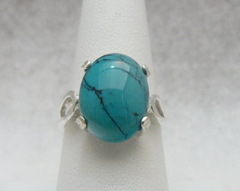 Gorgeous Genuine Turquoise Gemstone  Sterling Silver Ring