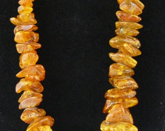 Graduated Natural Amber Nugget Necklace