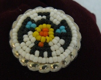Handbeaded Handmade Thunderbird Native American Indian Seed Bead Button Covers
