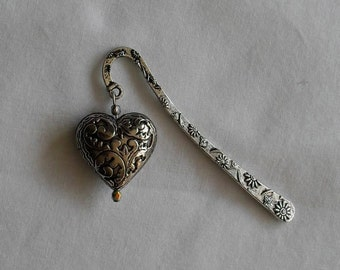 Bookmarks Puffy Heart Crystal Bead Silver Victorian Book Mark OOAK Gift TREASURY ITEM