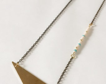SALE NEW Geometric Necklace : Summer Jewelry - Beaded Triangle Brass Necklace