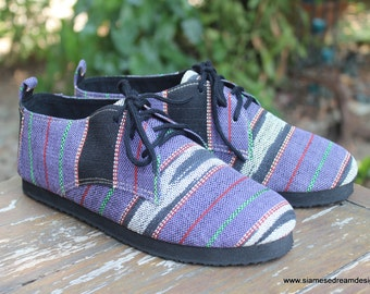 Womens Oxford Shoes In Purple Ethnic Karen Hand Woven Cotton Vegan - Maddie